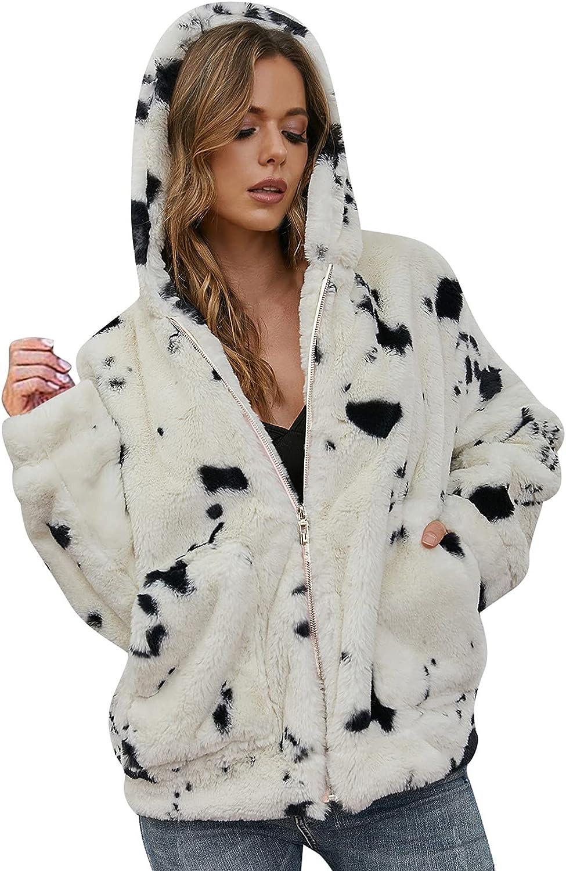 Women's Faux Fur Coat Fuzzy Hooded Jacket with Pockets, Ladies Full Zip Up Shaggy fleece Hoodies Outerwear for Winter