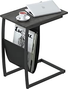 Yusong Side Table,End Table with Magazine Holder for Living Room,C Shaped Table with Stable Metal Frame Sofa Table for Coffee Snack Laptop,Easy Assembly, Gray