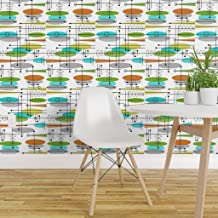 Spoonflower Non-Pasted Wallpaper, Mid Century Modern Retro Mod Space Age Print, Swatch 12in x 24in