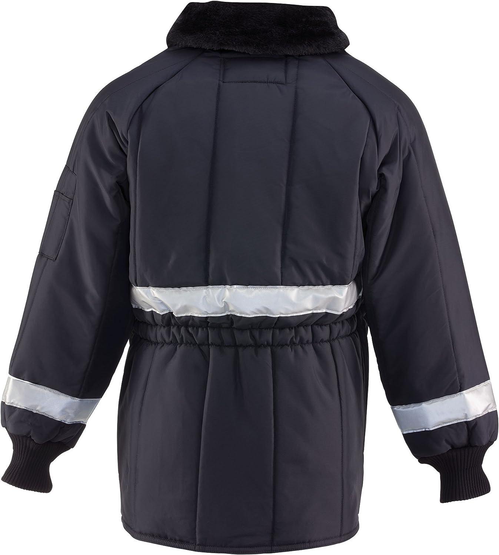 RefrigiWear Insulated Iron-Tuff Enhanced Visibility Siberian Workwear Jacket with Reflective Tape