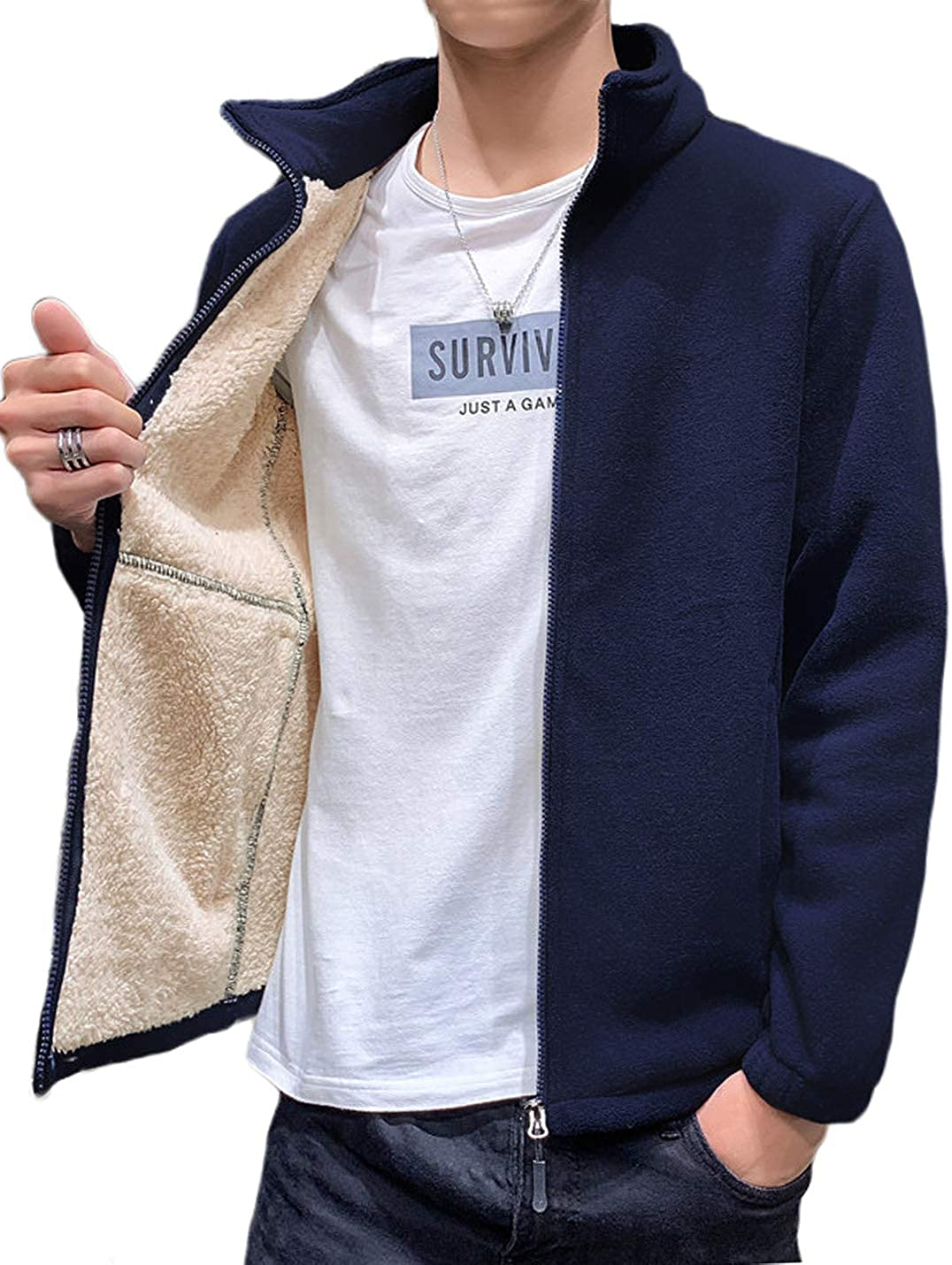 Omoone Mens Casual Zip Up Stand Collar Polar Fleece Lined Sweatshirt Jacket Coat