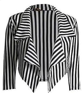 Fusion BeBe-Womens Black & White Striped Cropped Waterfall Coat Casual Jacket Blazer PLUS SIZE UK 8-22 (16-18, Black/White...