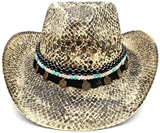 JHKSO Women Men Western Cowboy Straw Hat for Lady Tassel Cowgirl Sombrero Caps