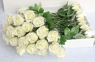 Acrodi 20 Pcs Artificial Rose Soap Flower Bouquets for Wedding DIY Decor Home Decoration, Champagne