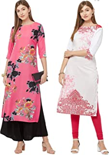 GoSriKi Women's Multicolor Printed Straight Kurta Pack of 02(Dabba-Pink & White-Pink)