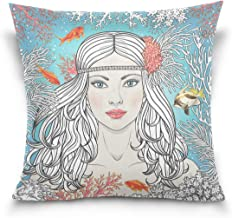 "MASSIKOA Mermaid Girl Among Corals and Fishes Decorative Throw Pillow Case Square Cushion Cover 20"" x 20"" for Couch, Bed, ..."