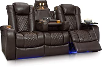 Seatcraft Anthem Home Theater Seating Leather Multimedia Power Recline Sofa with Fold-Down Table, Adjustable Powered Headrests, Storage, AC/USB and Wireless Charging and Cup Holders, Brown