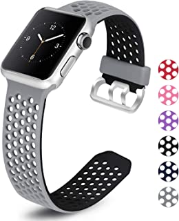 Mosstek Compatible with Apple Watch Band 38mm 40mm 42mm 44mm, Soft Silicone Sport Strap Replacement Wristband with Air Holes Compatible Apple Watch Series 4 3 2 1 Black