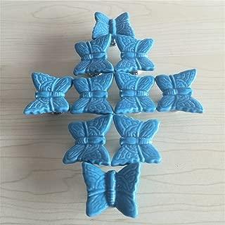 SunKni 33mm 10 Pack Ceramic Dresser Knobs for Girls Kids, Butterfly Animal Drawer Knobs Pulls Handles for Kitchen Cupboard Cabinet Nursery (Blue)