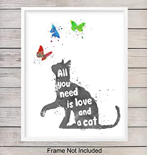 Inspirational Cat Wall Art Poster Print - Modern Home Decor, Room Decorations for Bedroom, Bathroom, Childrens, Girls, Baby, Kids Room or Nursery - Great Gift for Kitty Lovers - 8x10 Unframed Photo