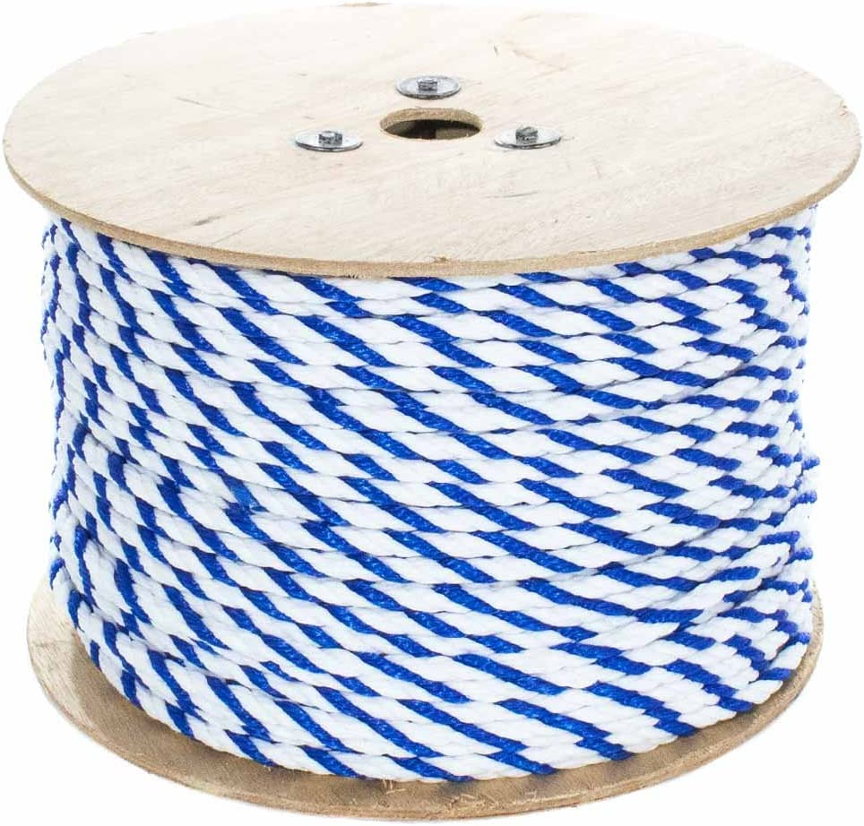 Pool Lanes Lightweight Utility Rope for Safety Lines 10-600 Feet Lengths, Blue and White 1//4-3//4 Inch 3 Strand Polypro Cord West Coast Paracord Twisted Polypropylene Pool Rope