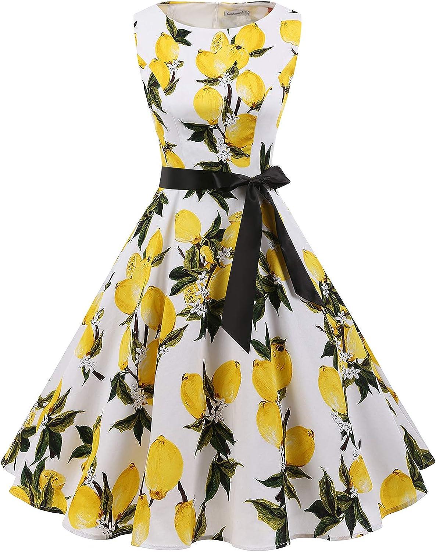 Gardenwed Women's Vintage 1950s Retro Rockabilly Swing Cocktail Dresses with Belt Lemon FlowerXL