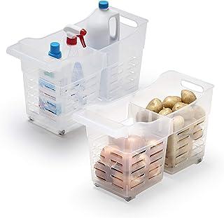 USE FAMILY Cestas Almacenaje Cocina plástico con Ruedas - 2 Compartimentos Transpirable  Organizador de despensa y armario...