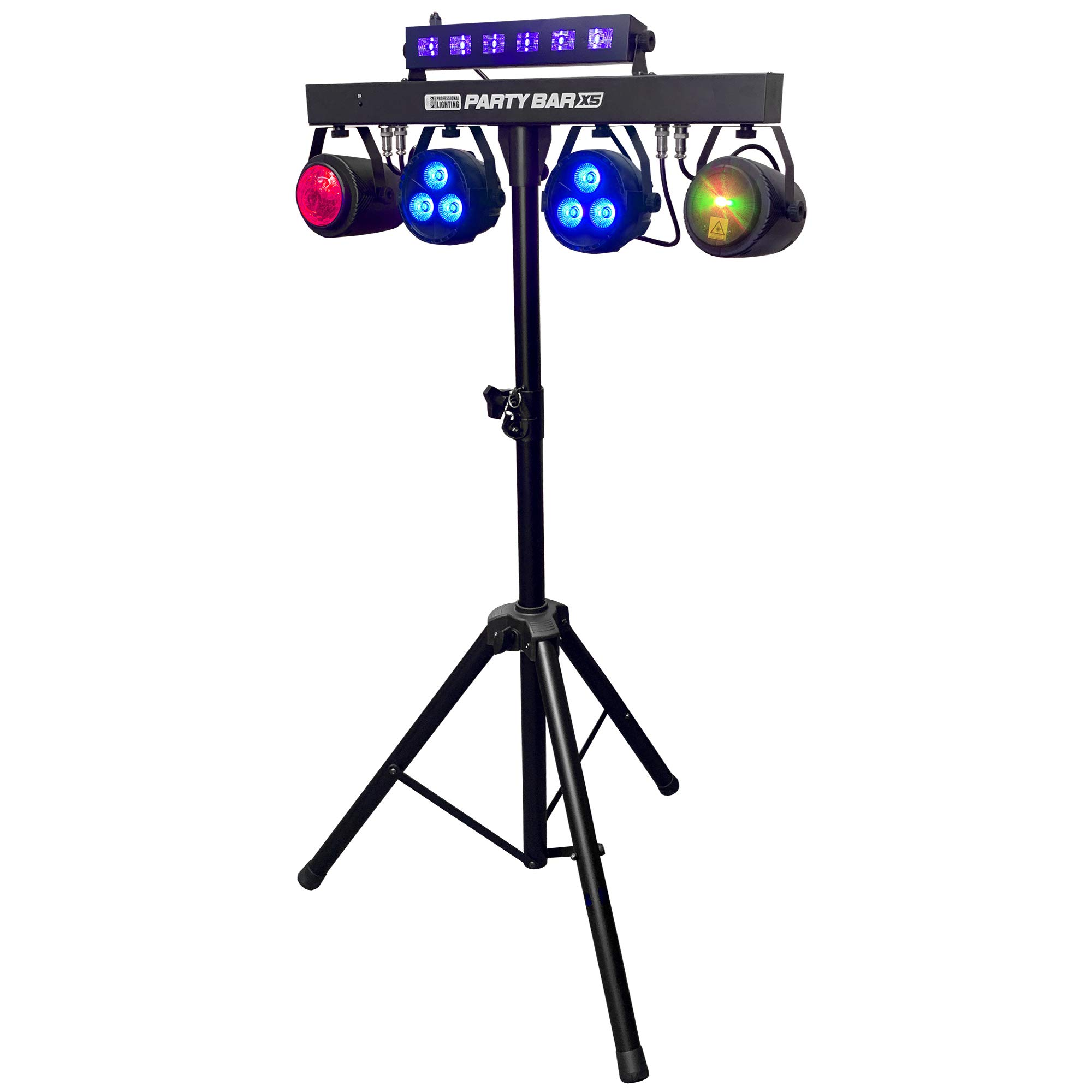 party bar x5 led dj lighting stage lighting gigbar includes gig bags stand 2 pars 2 effect lights black light bar strobe and a remote