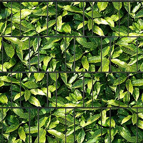 Bedruckter Sichtschutzstreifen für Doppelstabmatten Zaun auf Rolle inkl. 25 Klemmschienen (Aukube)