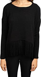 Black Sweater Top with Fringe Hem Style 163443
