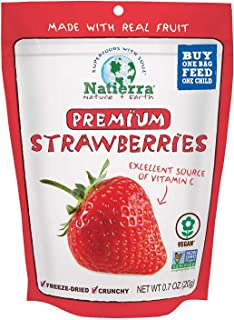 NATIERRA Premium Freeze-Dried Strawberries | Non-GMO & Vegan | 0.7 Ounce (Pack of 8)