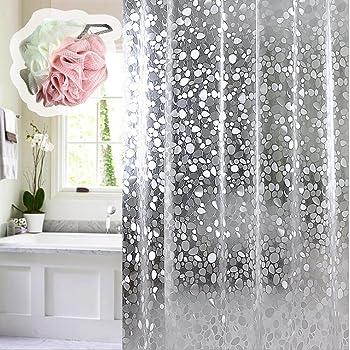 Bianco Trasparente motivo 3d gocce d acqua caolator- Tenda espesamiento di PEVA per doccia trasparente