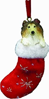 Collie Christmas Stocking Ornament with
