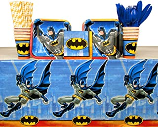 Batman Party Supplies Pack for 16 Guests | Straws, 16 Dessert Plates, 16 Beverage Napkins, 16 Cups, Cutlery, and Table Cover | Perfect For Kids Birthday Parties | Great For Little Crime Fighters Party