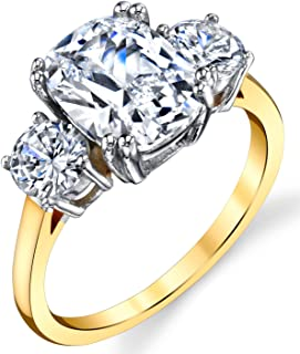 Sterling Silver 925 Meghan Markle 14K Gold Plated Cushion Cubic Zirconia Wedding Engagement Ring
