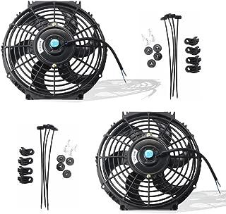 MOSTPLUS Black Universal Electric Radiator Slim Fan Push/Pull 12V + Mounting Kit (10 Inch) Set of 2
