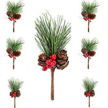 Fir Pine with Berry and Pine Cone Sullivans Artificial Greenery Pick 9 x 13 Each SP970 Green Set of 24 in 2 styles