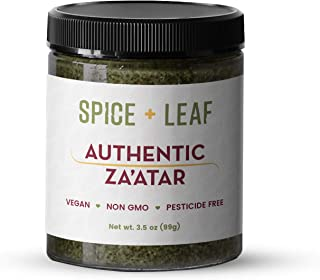 Premium Authentic Zaatar by SPICE + LEAF - Vegan Pesticide Free Spice Blend Usedto Give Bread, Vegetables, Meat, Poultry and Fish a Middle Eastern Flavor, 3.5 oz.