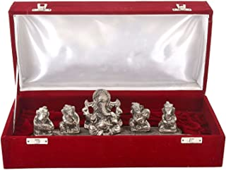 MSA JEWELS Silver Plated Aluminum Musical Ganesha Oxidized Finish with Velvet Box, Size- 12 Inch(Metallic)