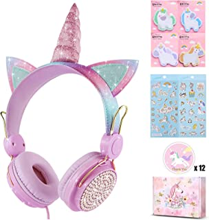 Charlxee Unicorn Kids Headphones with Microphone for Girls Children Teens,Over-Ear On Ear Headphones with HD Sound,Wired H...