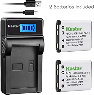 Kastar Battery x2 and Slim LCD Charger Replacement for Kodak KLIC-7006 EasyShare M22, M23, M200, M522, M530, M531, M532, M550, M552, M575, M577, M580, M583, M750, M873, M883, M5350, M5370, MD30, Mini