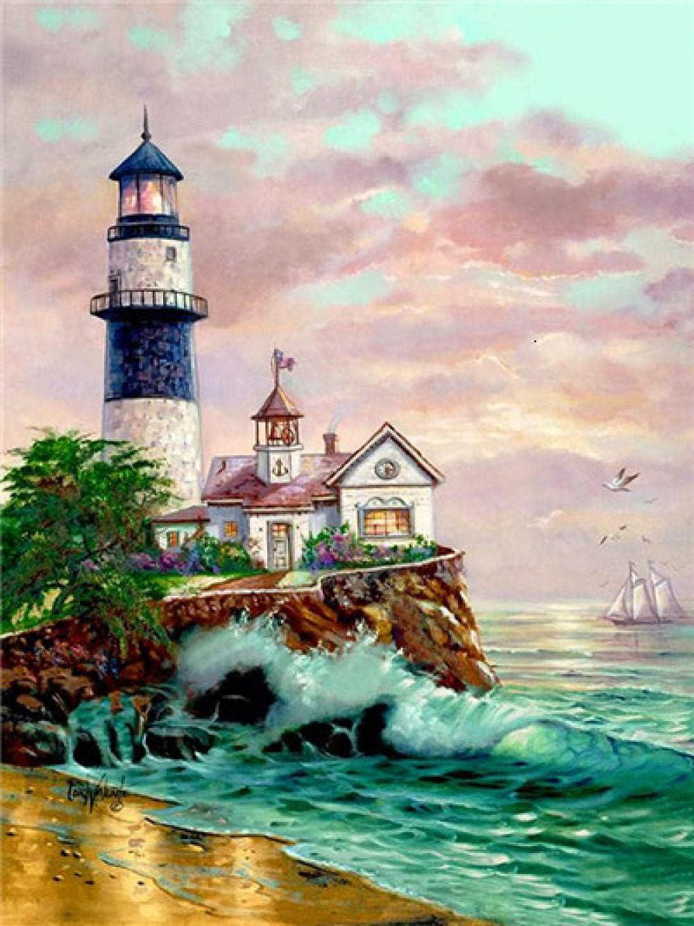 Awttmua 5D DIY Diamond Stitch Cross Lighthouse Some reservation High material Painting