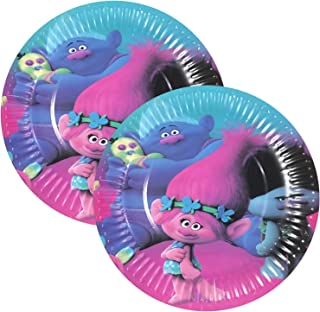 20PCS Trolls Birthday Party Supplies 7 Inch Party Plates Baby Show Birthday Cake Decorations Supplies