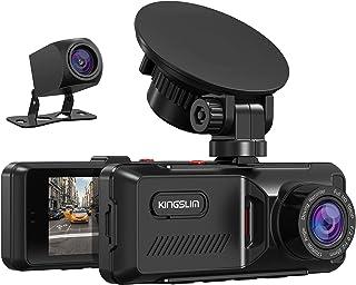 KINGSLIM D1 Dashcam Voiture avec GPS, Caméra Voiture Embarquée 1080P Avant et Arrière, 170°Grand Angle, Caméra de Bord Écr...