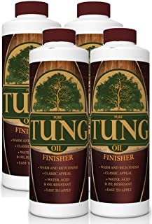 100% Pure Tung Oil Finish Wood Stain & Natural Sealer for All Types of Wood (4 x 32 oz Case)