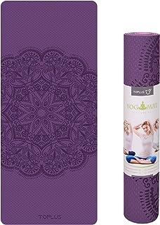 TOPLUS Pilatesmatta, gymnastikmatta, yogamatta, halkfri tillverkad av TPE, träningsmatta, sportmatta för yoga, pilates, fi...
