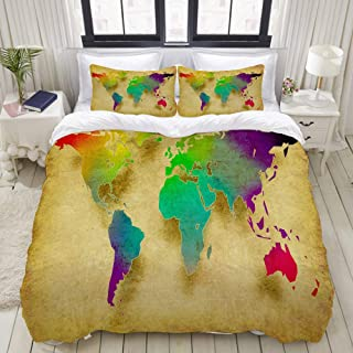 """Mokale Bedding Duvet Cover 3 Piece Set - World map on Old Paper Vintage Background - Decorative Hotel Dorm Comforter Cover with 2 Pollow Shams - Full 80""""x90"""""""