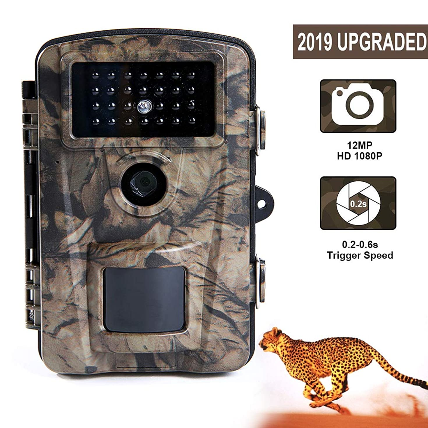 """SEREE Trail Camera 1080P FHD Waterproof Scouting Camera, Hunting Camera with 12MP 90 ° Night Vision Motion Activated Vision 2.4""""LCD IR LEDs Waterproof IP66 0.2s Trigger Time"""
