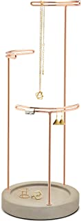 Umbra Tesora, 3 Tier Jewelry Stand, Earring Holder, Accessory Organizer and Display, Concrete/Copper