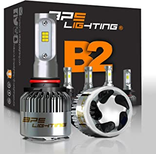 FREE PAIR T10/194 BPS Lighting B2 LED Headlight Bulbs Kit 100W 12000LM 6000K - 6500K Xenon White CSP Diodes Headlamp Conversion and Replacement for Halogen Lights (H10 (9140 9145))