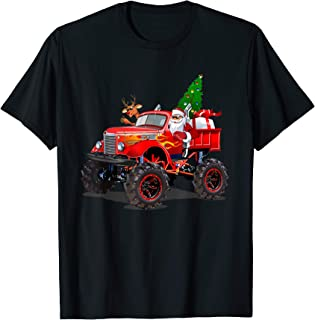 Monster Red Truck With Santa, Christmas Tree, Reindeer T-Shirt