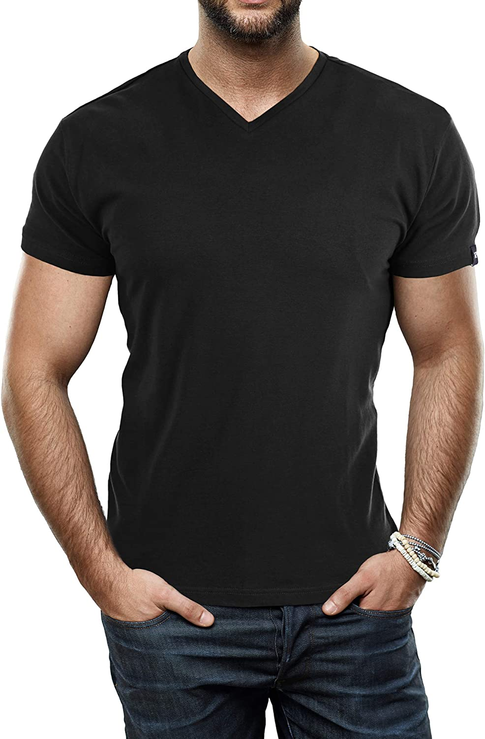 X RAY Men's Soft Stretch Cotton Solid Short Sleeve V-Neck Slim Fit T-Shirt, Fashion Casual Tee for Men