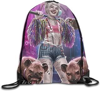 Har-lEy Qu-inn Bi-rds Of Pr-ey Drawstring Backpack Canvas Sport Bag Gym Sack Traveling Storage Bag