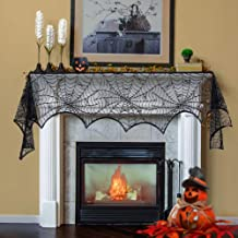 Lulu Home Halloween Fireplace Decorations, Fireplace Mantle Scarf Cover, Black Lace Spider Web for Door, Window and Flowerbeds Decoration, Halloween Party Supplies