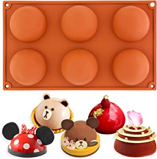 Funshowcase 6 Cavities Large Half Sphere Hemisphere Dome Chocolate Silicone Mold Tray