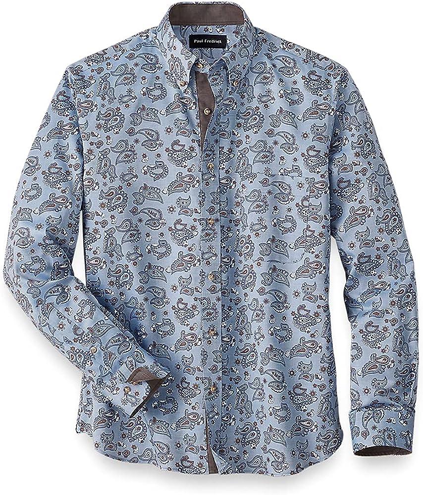 Paul Fredrick Men's Easy Care Cotton Paisley Casual Shirt, Navy/Brown