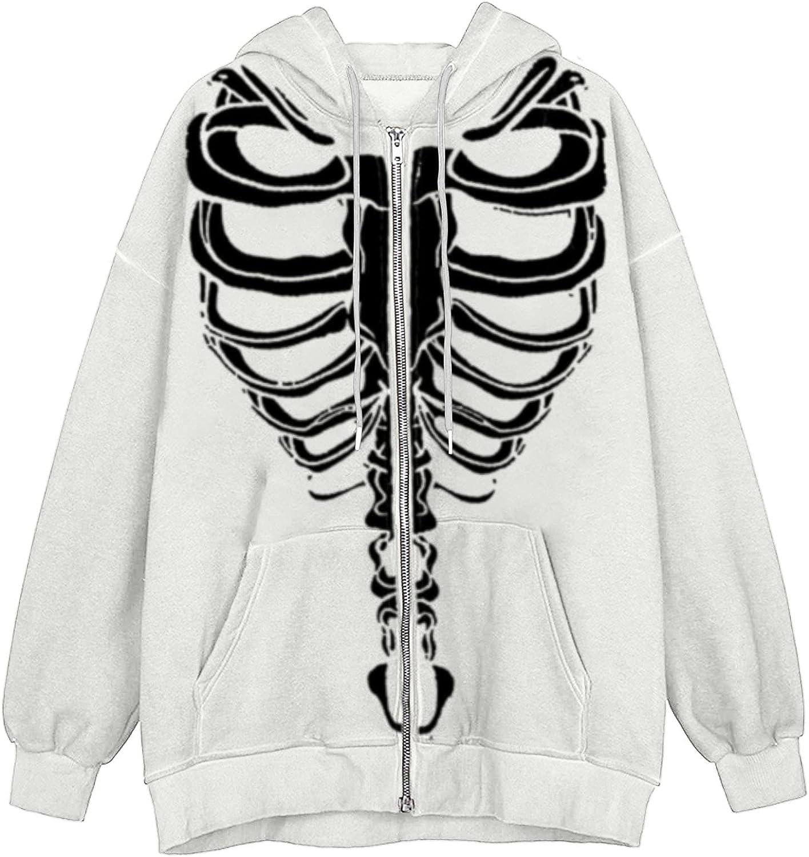 Hoodies for Women Skeleton Print Zip Up Sweatshirt Rhinestone Graphic Oversized Pullovers Tops Goth Jacket Coat With Pockets