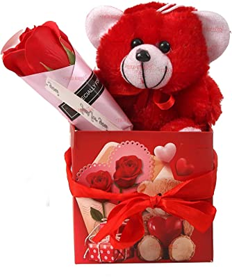 TIED RIBBONS Valentine Gift for Wife Girlfriend Girls - Romantic Gift Pack (Teddy, Scented Rose Flower and Gift Box)