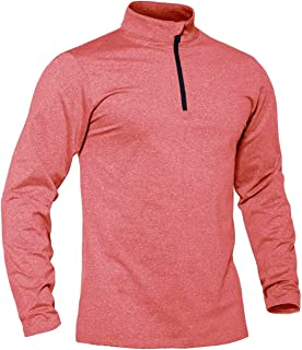 TACVASEN Men's Lightweight Running Top Long Sleeve Gym Jogging Base Layer Fleece Shirts
