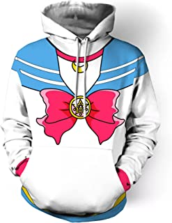 Rushine Unisex Sailor Moon Cosplay Pullover Hoodie Sweatshirt Outwear